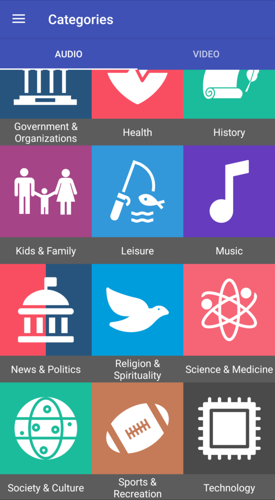 Playapod categories for podcasts